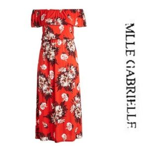 Red floral dress by Mlle Gabrielle. Plus size 3x